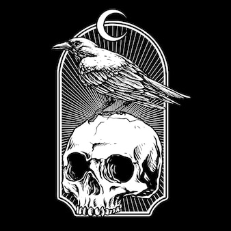 Wrona z czaszką ilustracją