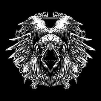 Wrona zremasterowana czarno-biała ilustracja