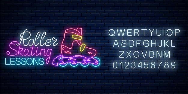 Wrotki świecące neonowy znak z alfabetem. lekcje jazdy na rolkach reklama znak. symbol strefy skate w stylu neonowym. ilustracja.