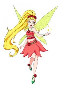 Wróżka kreskówka z blond długie włosy i żółte skrzydła. różowa sukienka w czerwone kwiaty. ręcznie rysowane ilustracji. może być używany do gier, książek dla dzieci, kart itp.