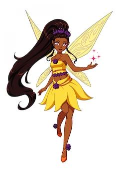 Wróżka kreskówka z ciemnymi długimi włosami i żółtymi skrzydłami. żółta sukienka w kwiaty.