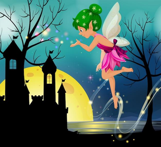 Wróżka latające wokół zamku w nocy
