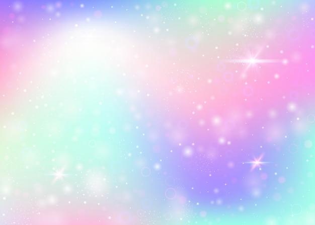 Wróżka tło z tęczową siatką. modny sztandar wszechświata w kolorach księżniczki. fantasy gradientowe tło z hologramem. holograficzne tło wróżki z magicznymi iskierkami, gwiazdami i rozmyciem.