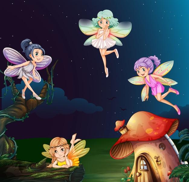 Wróżka w domu grzybów w nocy