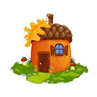 Wróżka żołądź krasnoluda lub dom gnomów, mieszkanie. wektor bajki domu drewniane drzwi, okna z okiennicami i liść dębu na dachu. kreskówka fantasy budynek na zielonym polu z trawą i grzybami