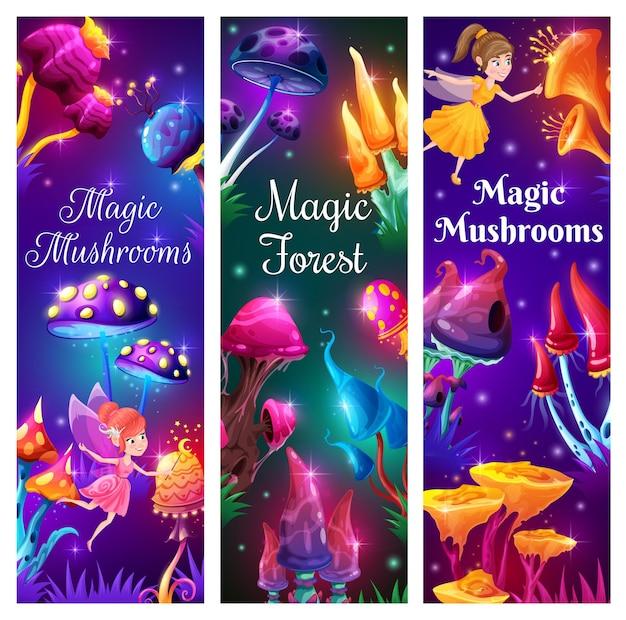Wróżki z kreskówek i magiczne grzyby w lesie fantasy. wektor dziwne grzyby, niezwykłe bajkowe lub galaretki obce rośliny z jasnymi świecącymi świecącymi czapkami, latające iskierki i zabawne elfy