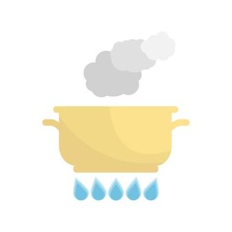Wrzący garnek na gazie. naczynia kuchenne na białym tle. ilustracja wektorowa.