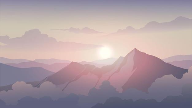 Wschód słońca krajobraz z górskim szczytem i chmurami
