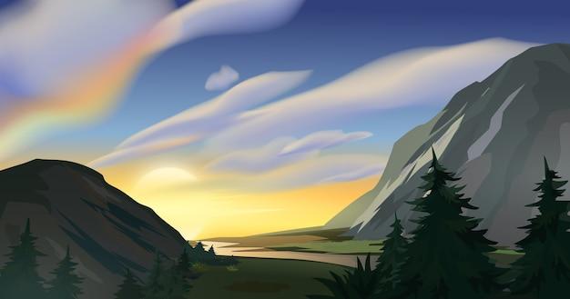 Wschód słońca na krajobraz gór.