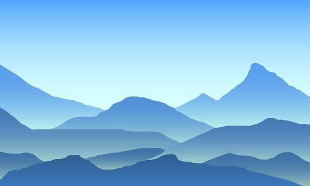 Wschód słońca w górach. kolor górski krajobraz. piesze wycieczki - poranny widok. tło wektor.