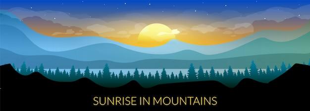 Wschód słońca w górach szablon transparent płaski kolor