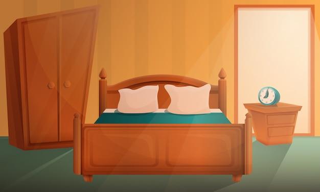 Wschód słońca w kreskówki sypialni, wektorowa ilustracja