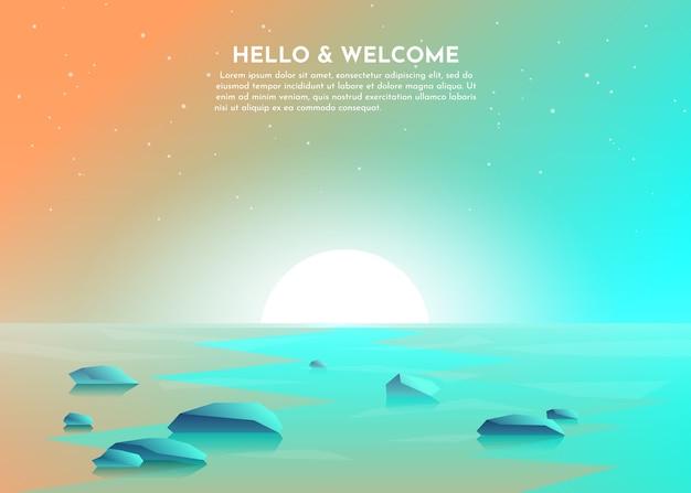 Wschód słońca, zachód słońca nad jeziorem, bagno, morze, ocean. kamienie leżą w wodzie.