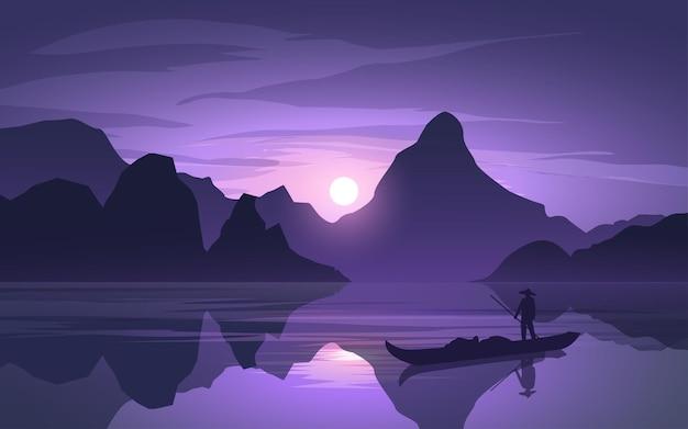 Wschodni spokojny zachód słońca krajobraz z łodzią na rzece i sylwetka wzgórza