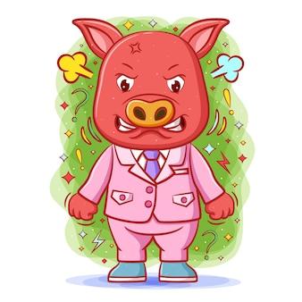 Wściekła czerwona świnia z twarzą stresu i zaciśniętymi pięściami