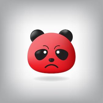 Wściekła panda z emotikonem czerwona twarz