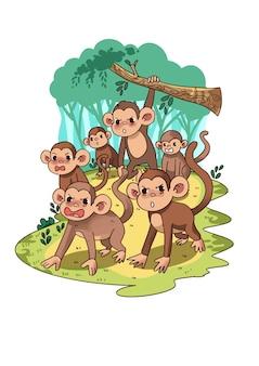 Wściekłe małpy w dżungli