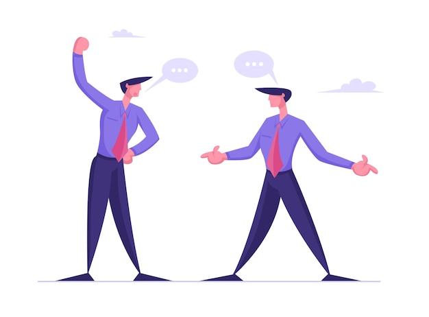 Wściekli biznesmeni kłócą się, przygotowują się do walki z machaniem pięściami i kłócą się