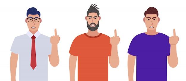 Wściekli mężczyźni pokazują środkowe palce. wulgarny gest. zestaw znaków.