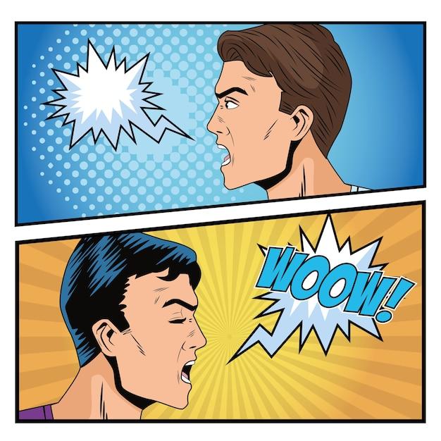 Wściekli mężczyźni przedstawiają postacie w stylu pop-art