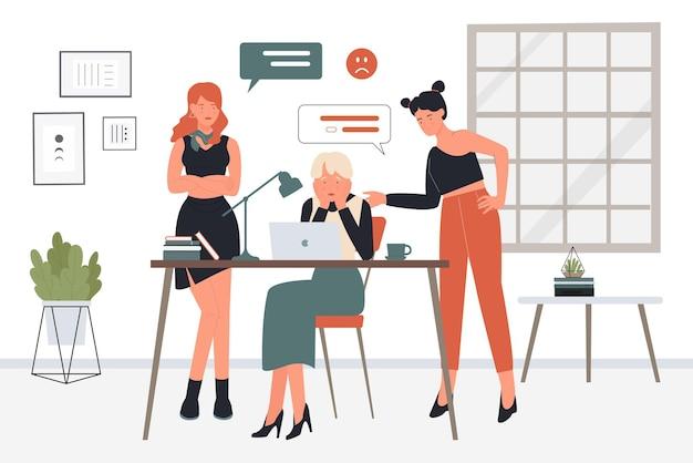 Wściekli pracownicy biurowi biznesowi karcą pracę pracownika mają problem w zespole