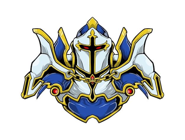 Wściekły biały rycerz pełna zbroja ilustracja logo