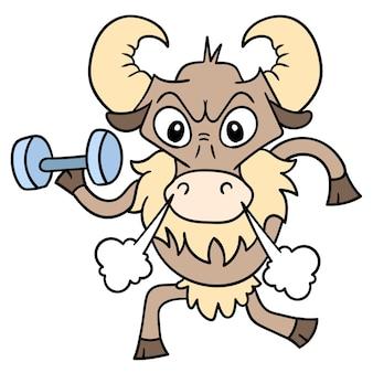 Wściekły byk z twarzą ćwiczących fitness niosący w ręku sztangę, ilustracja wektorowa sztuki. doodle ikona obrazu kawaii.