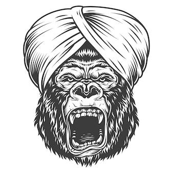 Wściekły goryl w stylu monochromatycznym
