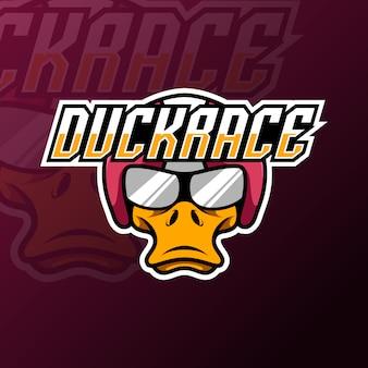 Wściekły kaczka maskotka sport logo e-sport logo szablon dla klubu drużyny streamerów