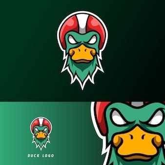 Wściekły kaczka maskotka sport logo szablon e-sportu gry dla klubu drużyny streamerów