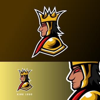 Wściekły król gaming esport logo szablon złoty mundur wojenny