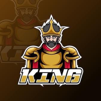 Wściekły król sport esport logo szablon złoty mundur wojenny
