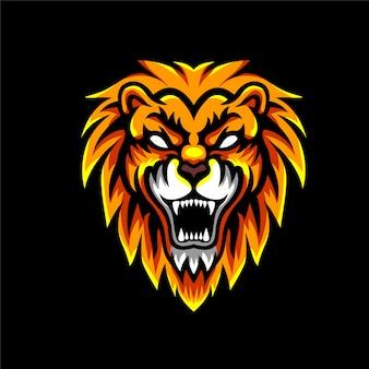 Wściekły lew zły maskotka logo
