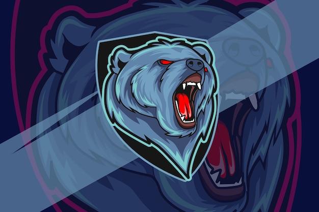 Wściekły niedźwiedź esport i projekt logo maskotki sportowej w nowoczesnej koncepcji ilustracji