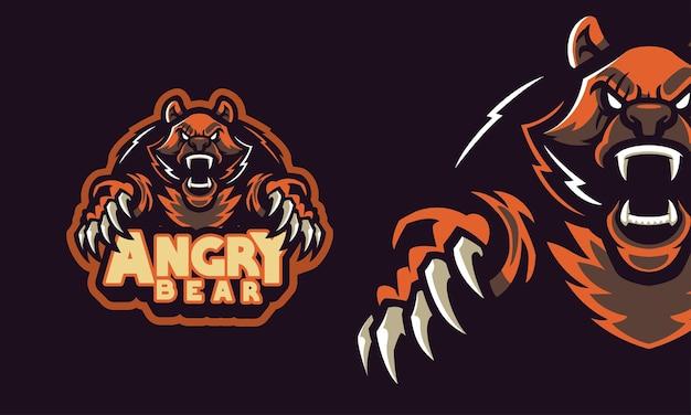 Wściekły niedźwiedź grizzly sport logo maskotka ilustracja