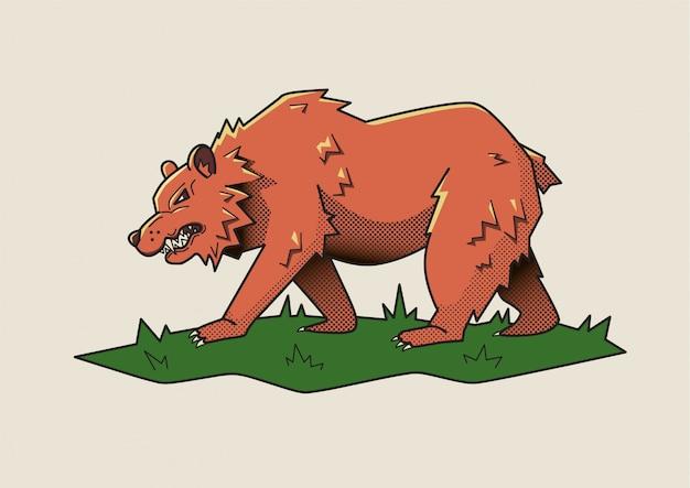 Wściekły niedźwiedź, niebezpieczna bestia.