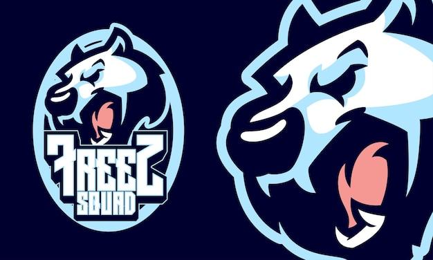 Wściekły niedźwiedź polarny sport logo maskotka ilustracja