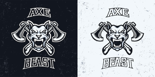 Wściekły pies głowa z logo gry esport maskotka topór