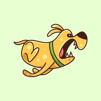 Wściekły pies, który skokął się po naklejkę z logo i ilustrację ikonę postaci