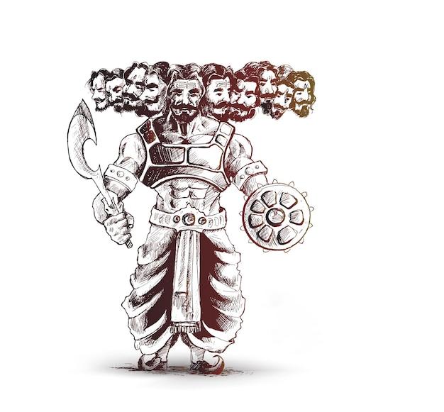 Wściekły ravana z dziesięcioma głowami z hindi tekstem dasera.