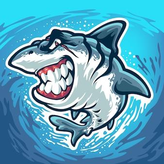 Wściekły rekin z blizną na twarzy na białym tle