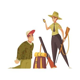 Wściekły strażnik leśny łapie myśliwego z kreskówką z pistoletu