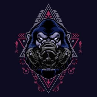 Wściekły styl gorilla vintage logo z maską