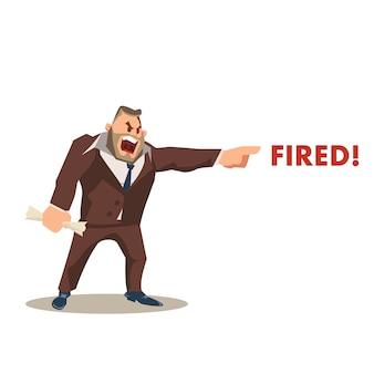 Wściekły szalony boss charakter w garnitur krzyk fired słowo