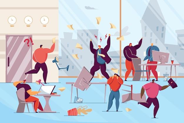 Wściekły szef przeklinający pracowników biurowych. ilustracja wektorowa płaski. biurowy chaos, panika, zszokowani pracownicy i nerwowe krzyki kierownika. biznes, konflikt, koncepcja zarządzania projektami banerów