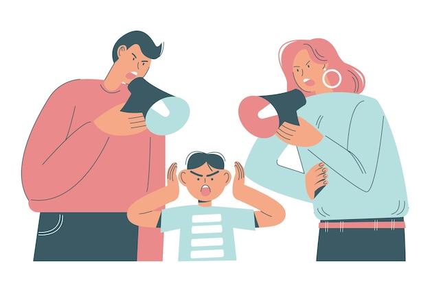 Wściekły tata i mama krzyczą przez megafony, łając swojego syna płaską ilustrację