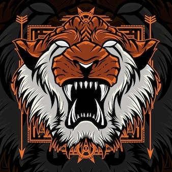 Wściekły tygrys maskotka świętej geometrii