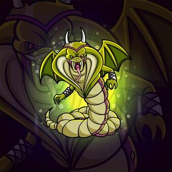 Wściekły wąż maskotka e-sport ilustracji