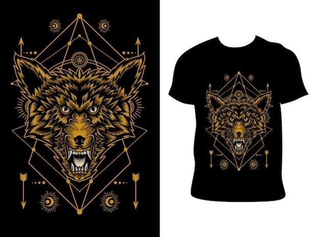 Wściekły wilk głowa ilustracja z projektem koszulki
