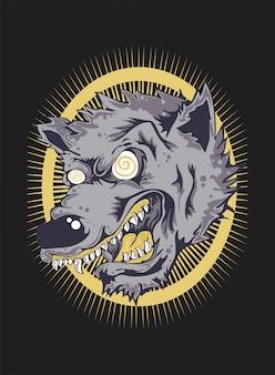 Wściekły wilk twarz. rysunek wektor